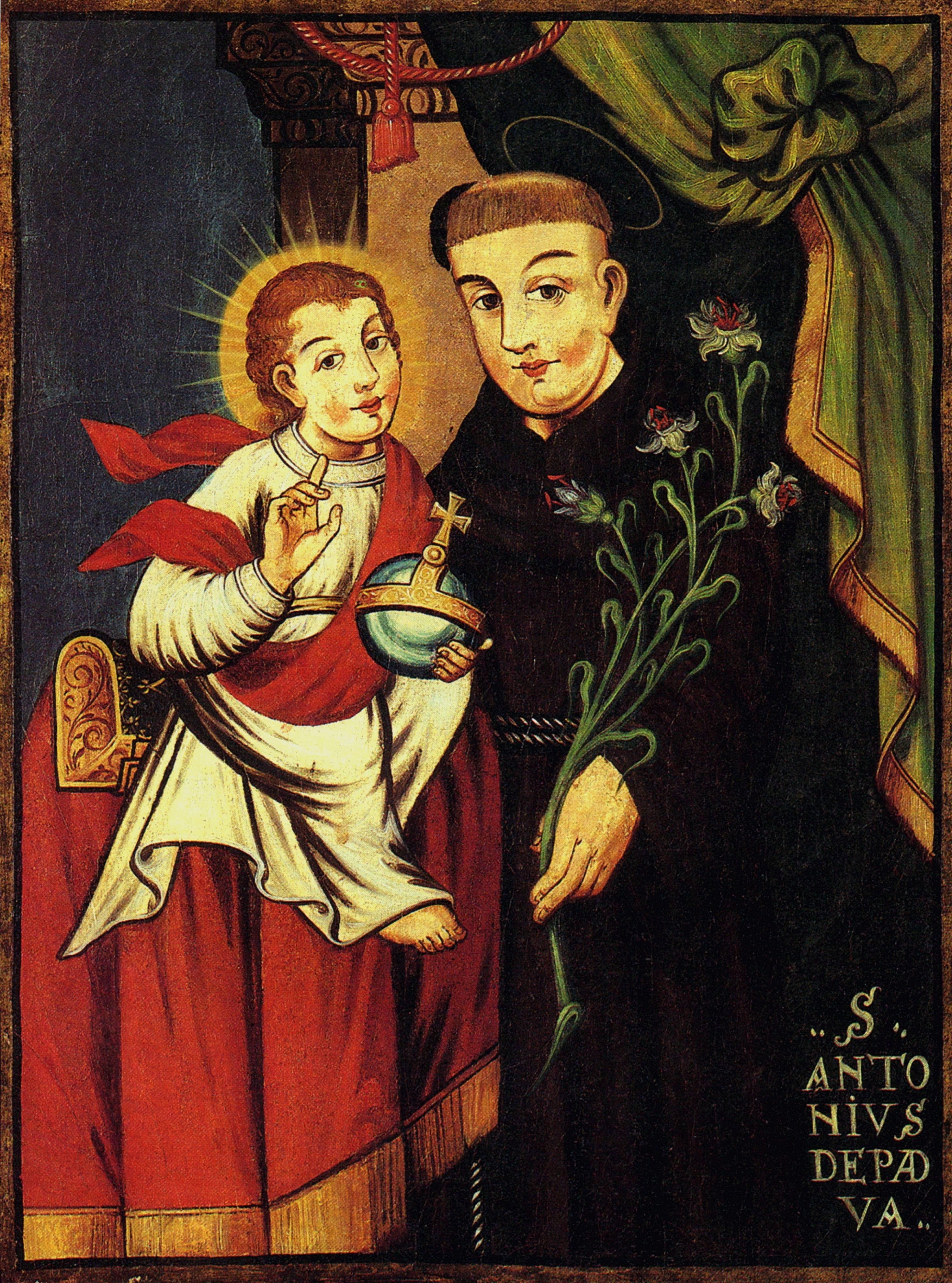 Saint Anthony holds the child Jesus.