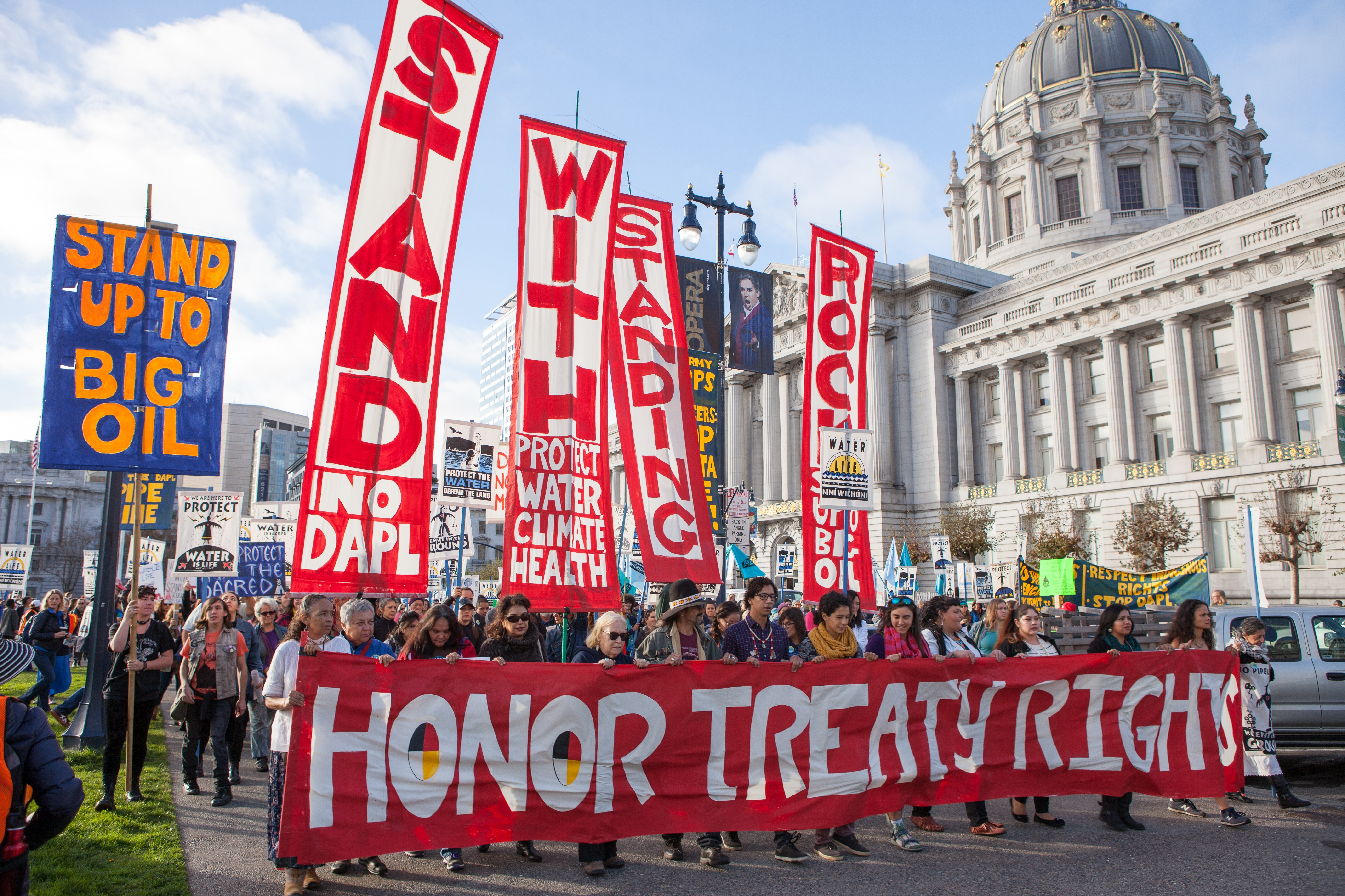 """Stand with Standing Rock"" protest in San Francisco. Photo by Pax Ahimsa Gethen,"