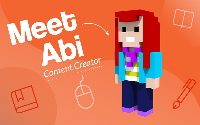 "Graphic of a voxel style avatar of Abi, our copywriter and content creator, with the words ""Meet Abi, Content Creator"""