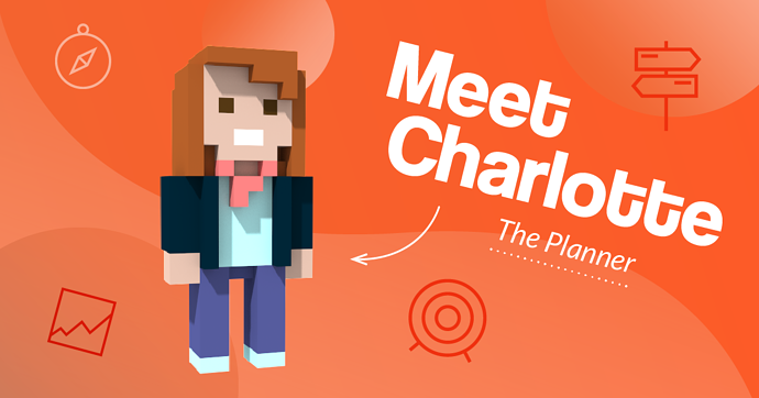Voxel illustration of Charlotte, our Brand Planner at 39steps Creative Agency, Edinburgh