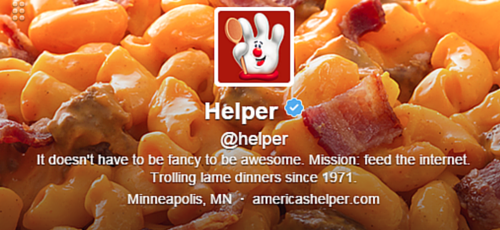 Hamburger Helper Twitter Bio