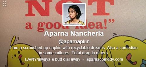 Aparna Nancherla Twitter Bio