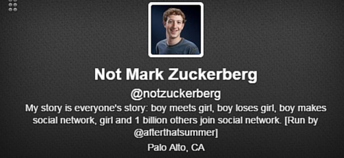 Not Mark Zuckerberg Twitter bio