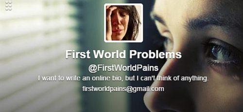 First World Problems Twitter Bio