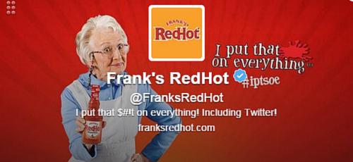 Franks RedHot Twitter Bio