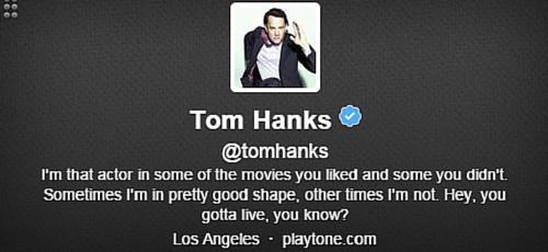 Tom Hanks Twitter Bio