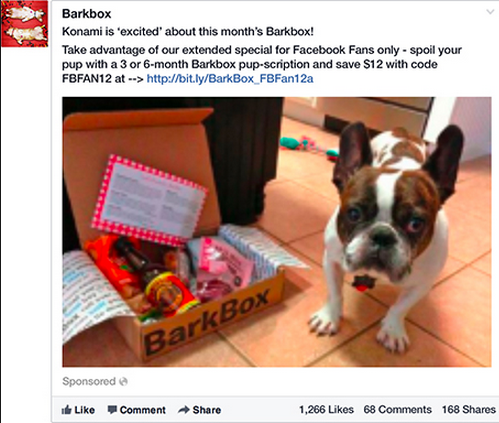 BarkBox used Facebook targeting options to find dog owners