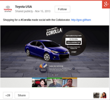 Google+ ads helped Toyota increase engagement