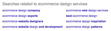 Google search suggestions with bolded keywords