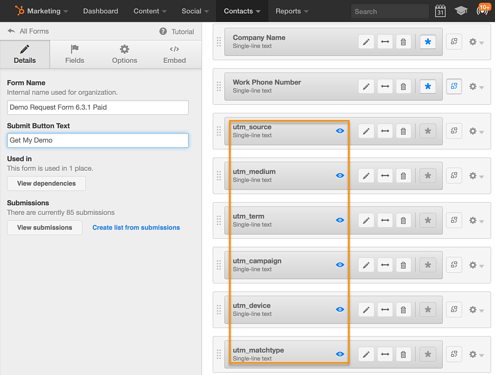 HubSpot lead generation form setup area