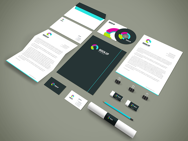 example of brand materials, including business cards, stationery, and letterheads