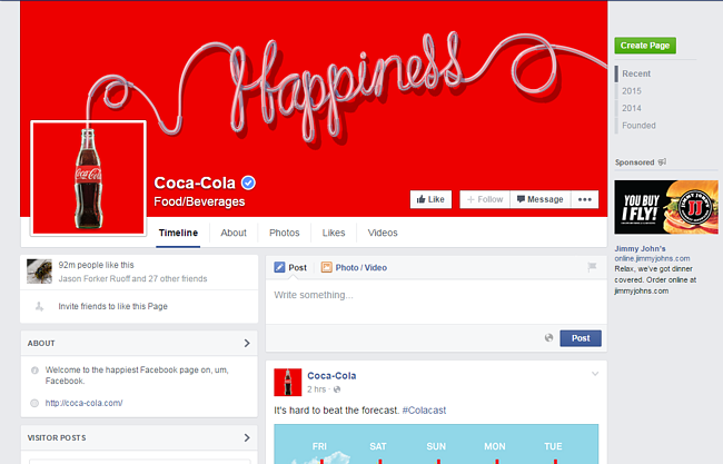 "coca-cola's facebook page with banner that reads ""happiness"""