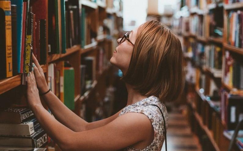 Woman at library