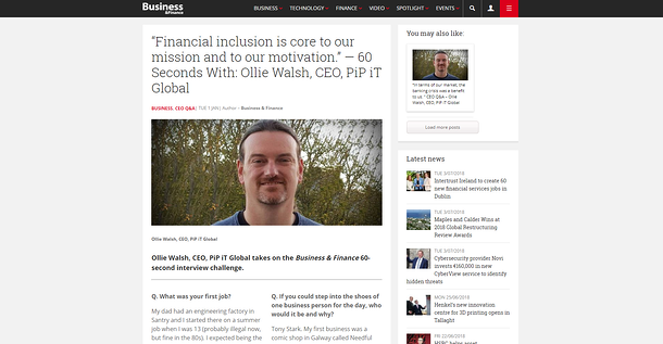 Ollie in Business nad Finance 60 Sec interview