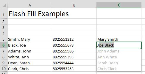 Excel: Use Flash Fill, Concatenate and Text to Columns