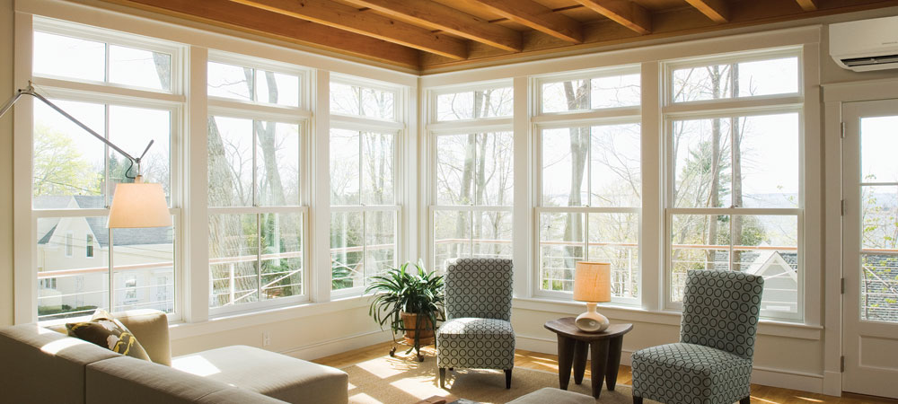 Heating and air conditioning in a sunroom in the Boston area.