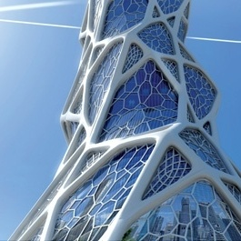 Altair's OptiStruct® topology optimization software was used to explore architectural design variants for the Bionic Tower high-rise proposal.