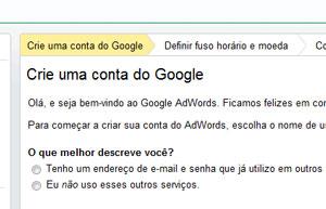 Criando conta do Google AdWords