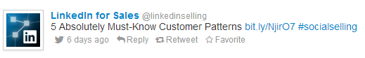LinkedIn for Sales Twitter Example