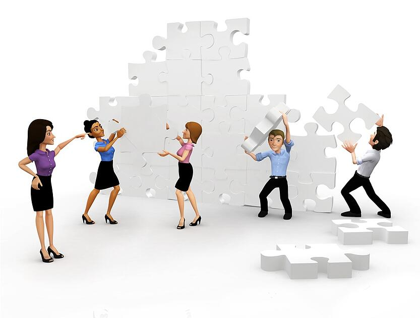 3D Business group assembling the pieces of a puzzle - isolated