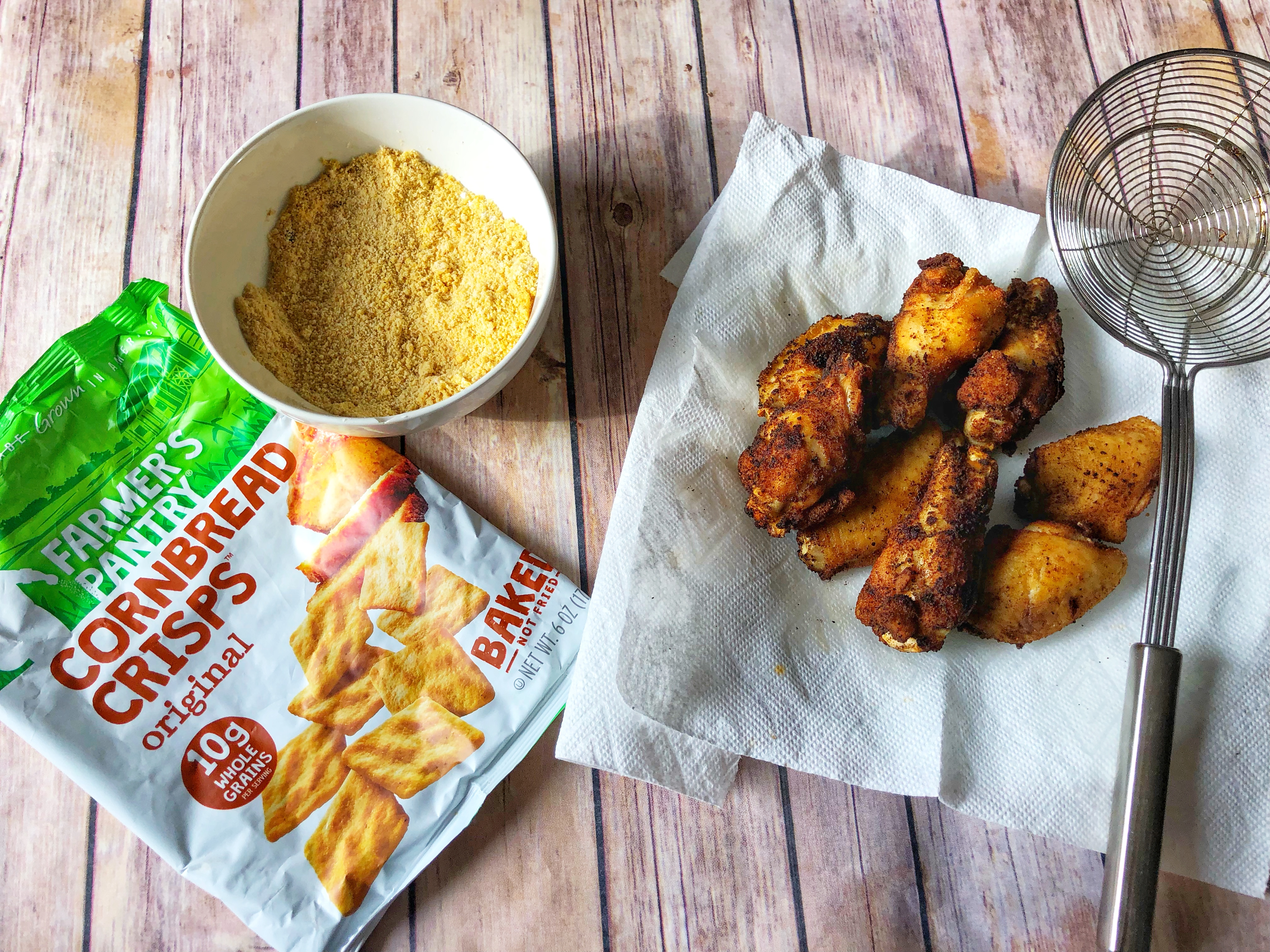 Farmer's Pantry Cornbread Crisps and Chicken Wings