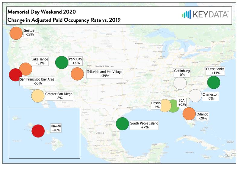 Memorial Day Weekend - Change in Adjusted Occupancy Rate 2020 vs. 2019