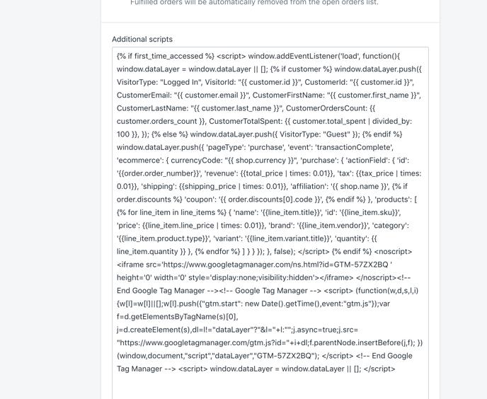 Checkout Page Script Settings