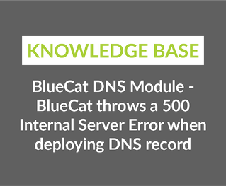 BlueCat DNS Module - BlueCat throws a 500 Internal Server Error when deploying DNS record