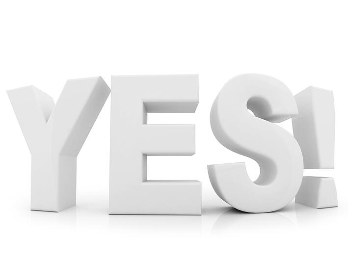 Yes word in 3D isolated over a white background