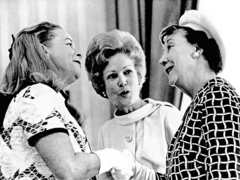 pat nixon introduces martha mitchell flamboyant wife of attorney general to mamie eisenhower
