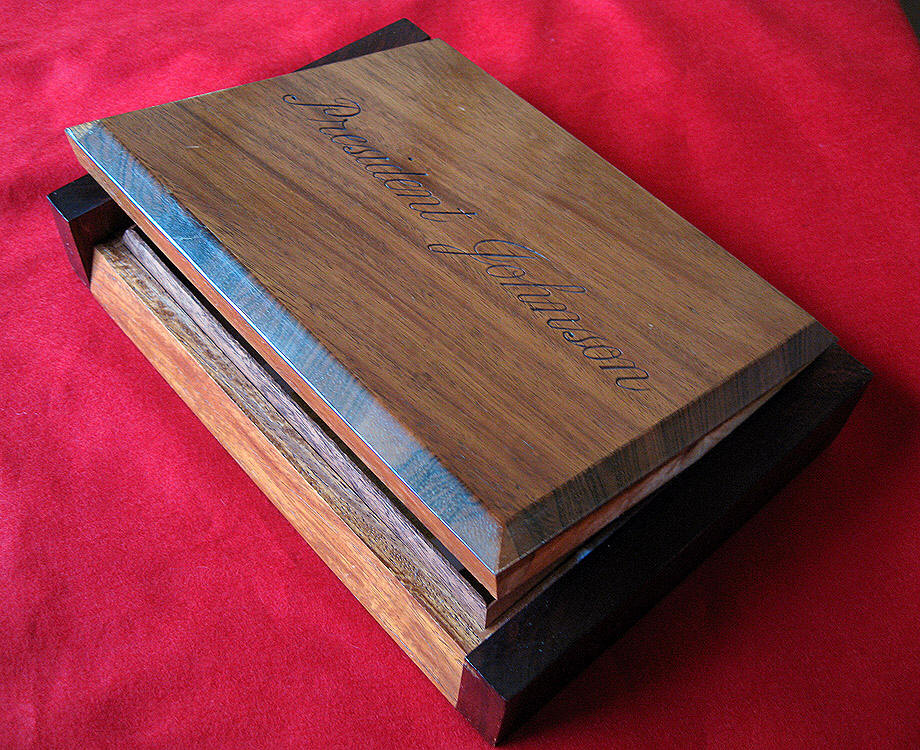 lyndon johnson walnut cigar box.