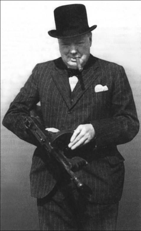 Winston Churchill with a tommy gun