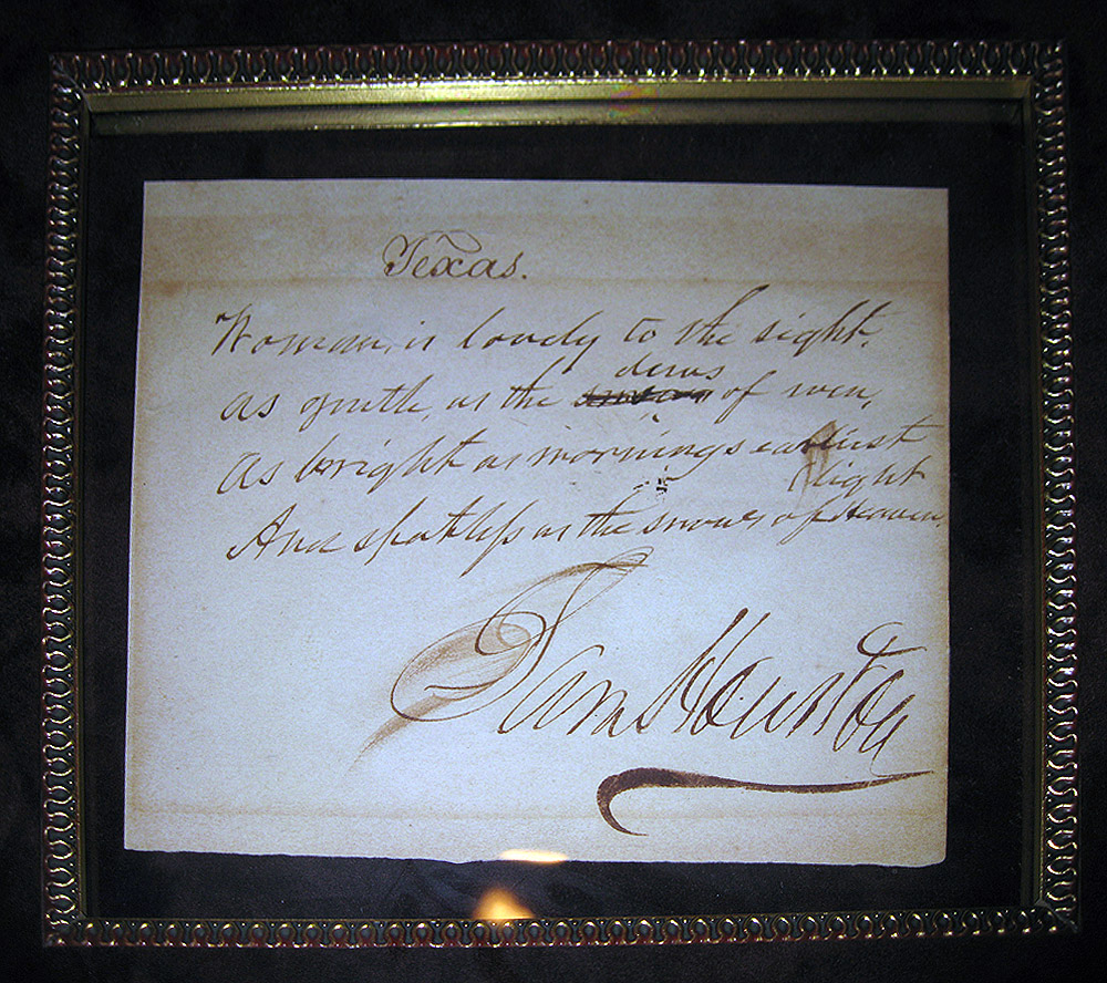 SAM HOUSTON POEM|FATHER OF TEXAS|SAM HOUSTON AUTOGRAPH|THE RALEIGH DEGEER AMYX COLLECTION|THE AMERICAN HERITAGE COLLECTION|RALEIGH DEGEER AMYX|