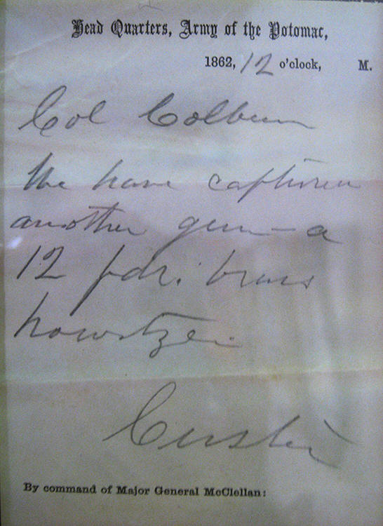 custer handwritten note ANS