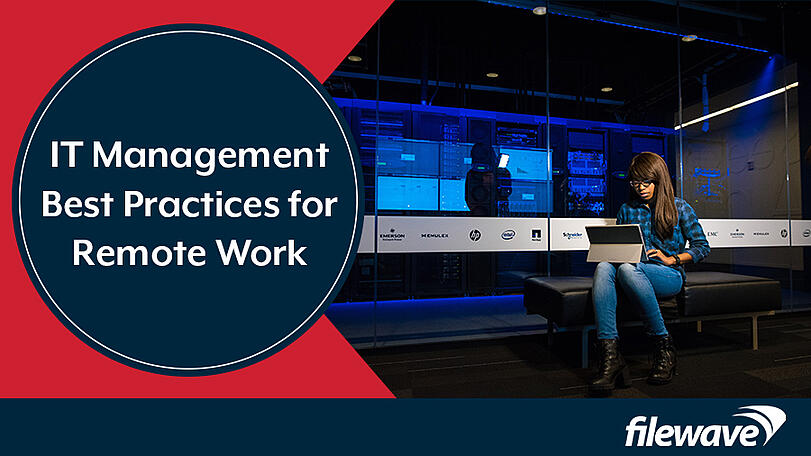 IT management best practices for remote work woman laptop server room