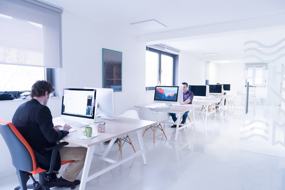 startup business, software developer working on computer at modern office