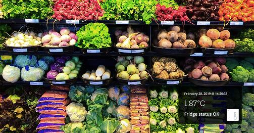 Fresh vegetable aisle with an overlay stating a temperature measurement meaning fridge status is OK