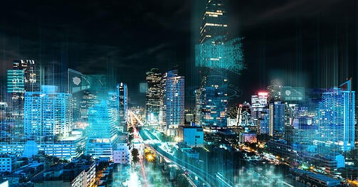An abstracted night cityscape with mocked digital info overlaid