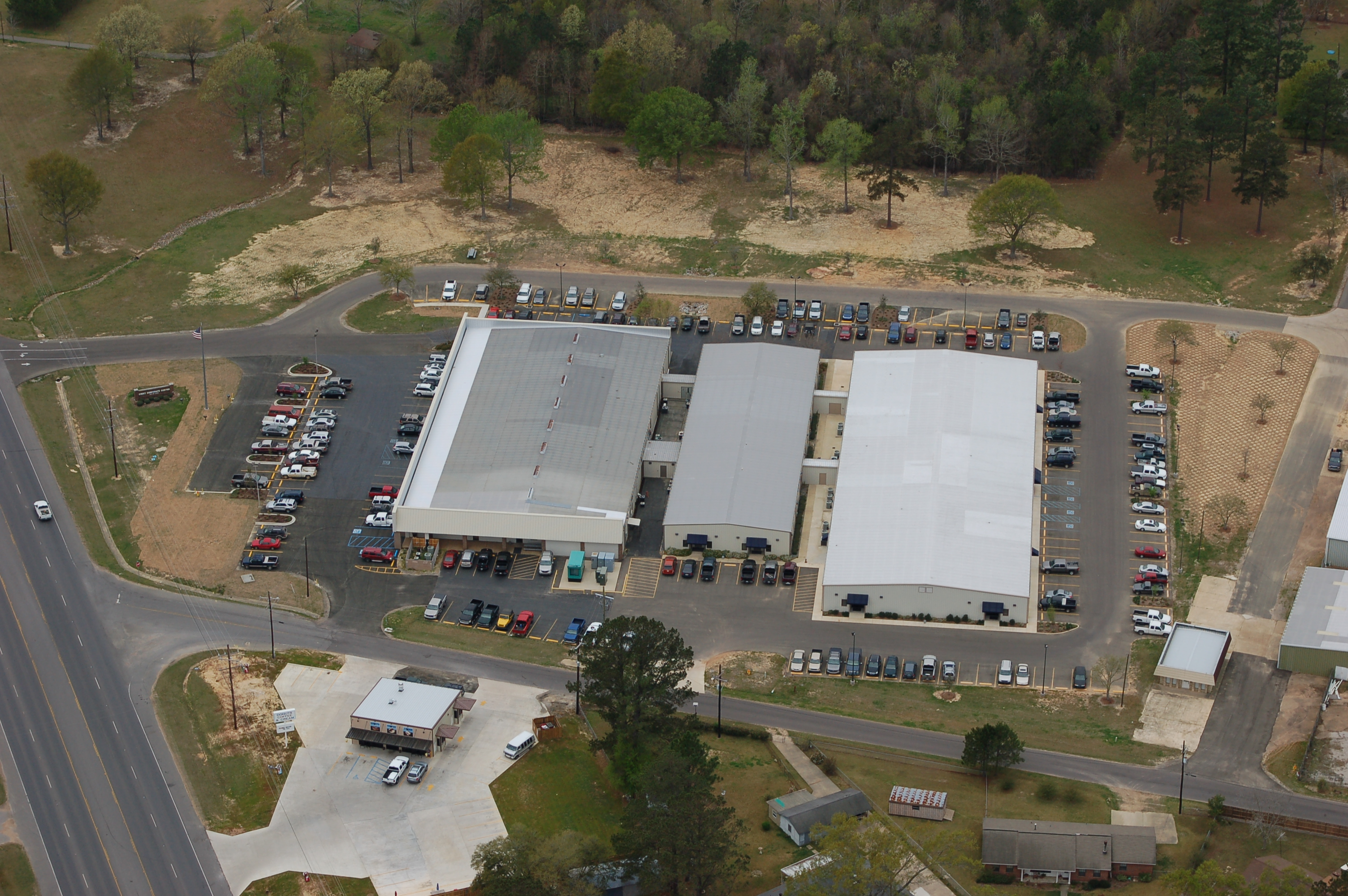 Aerial view of Crest Industries, LLC including DIS-TRAN Steel, DIS-TRAN Wood Products, DIS-TRAN Packaged Substations, BETA.