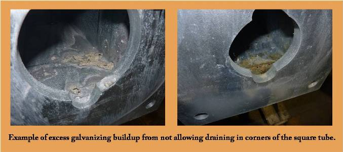 excess galvanizing buildup