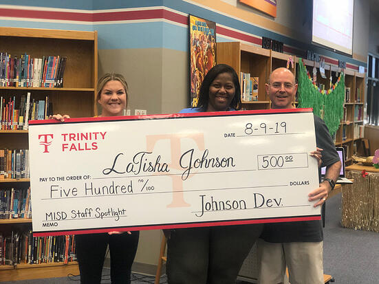 014-Trinity Falls Gifts $500 to Middle School Teacher