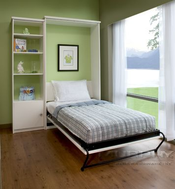 Murphy bed open in an oxford white cabinet