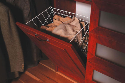 Custom Closet System | Tilt-out Hamper