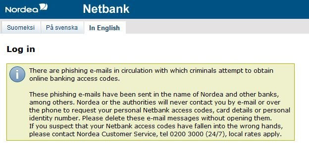 Finnish banks warn their customers of phishing scheme.