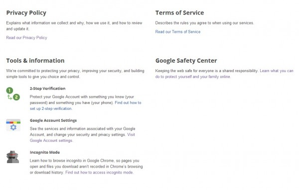 Security and privacy settings across your Google accounts