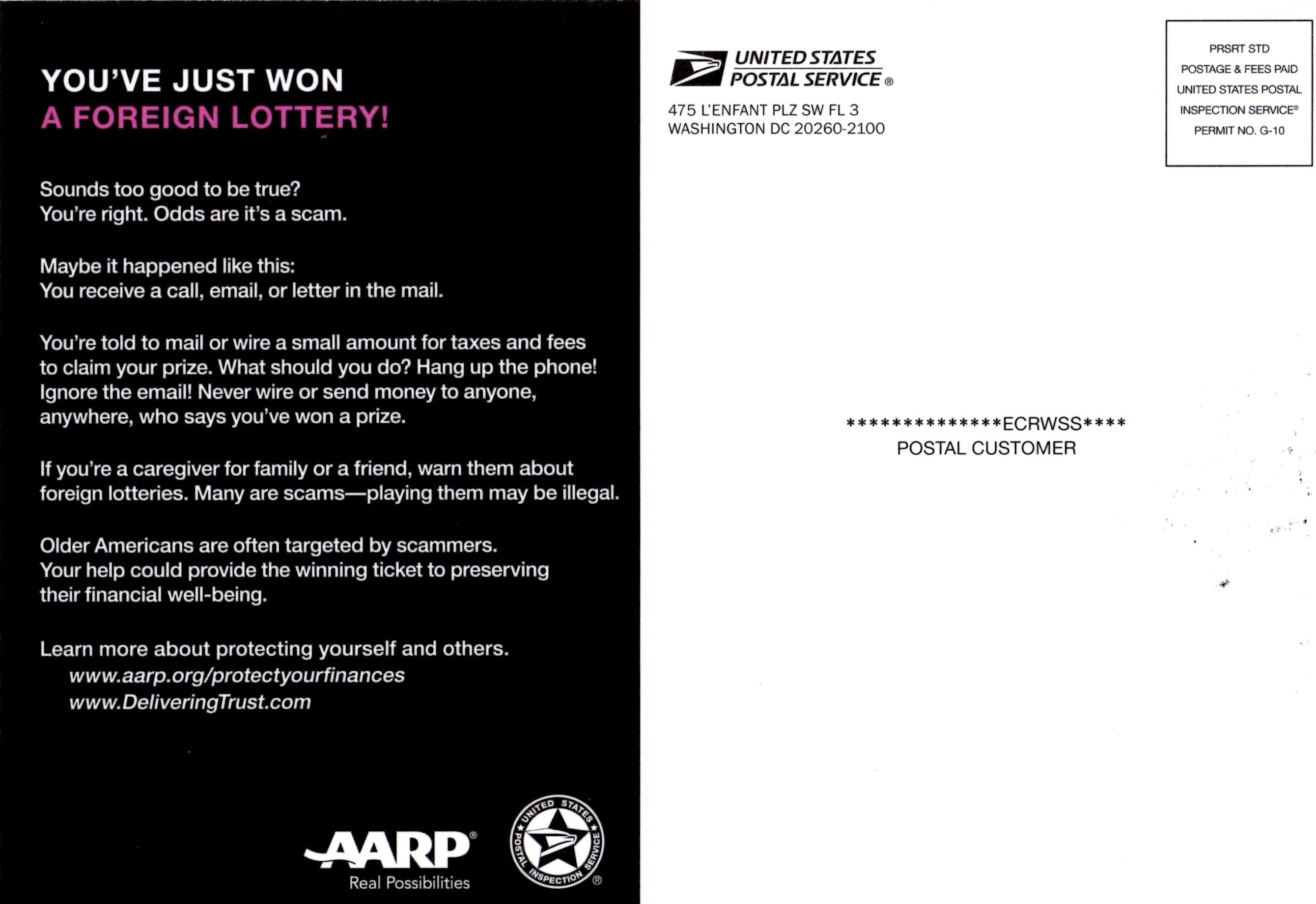 AARP and the U.S. Postal Inspection Service mailed this flyer to U.S. residents