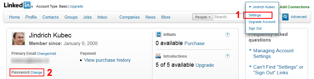 LinkedIn Password Change