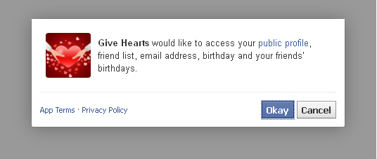 How to remove Give Hearts and other unwanted Facebook apps