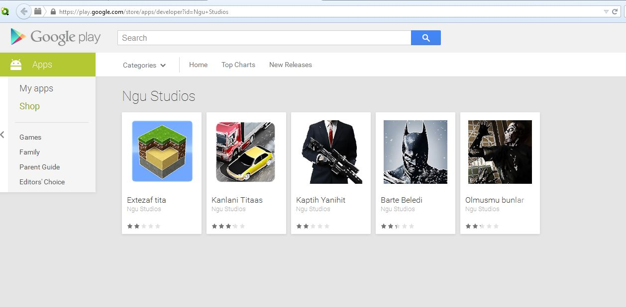 "The selection of ""gaming"" apps affected by Clicker-AR malware on the Google Play Store."