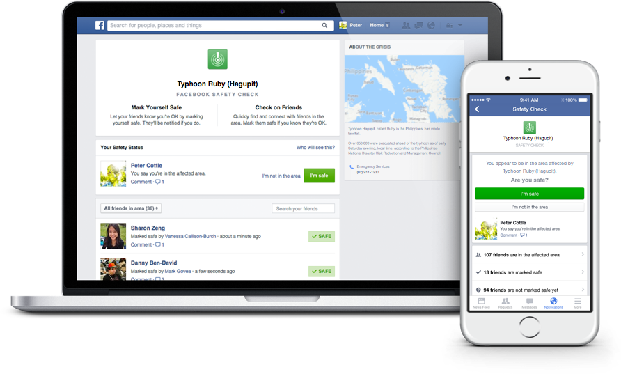 Facebook's Safety Check feature allows users to connect with friends and loved ones during a disaster.